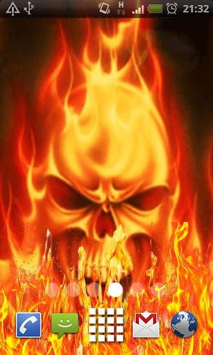 Orange Skull Fire Flames LWP