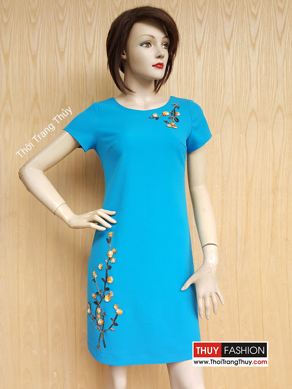 Váy suông công sở đính hoa thêu thủ công V416 Thời Trang Thủy
