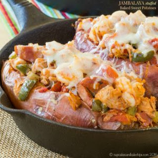 Jambalaya Stuffed Baked Sweet Potatoes