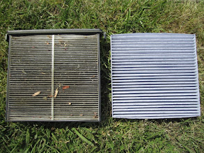 Photo: Here is a side by side comparison of the new and old filter - I am SO glad the one on the right in now in my husband's car :) #FresherCar