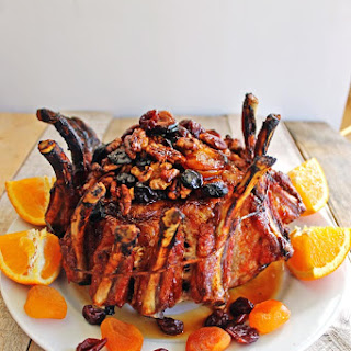 Spice Rubbed Pork Crown Roast With Fruit And Nut Stuffing