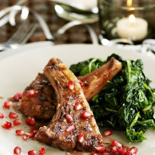 Baby Lamb Loin Chops with Spinach and Pomegranate Seeds