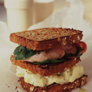 Egg Salad Sandwiches with Bacon and Spinach.