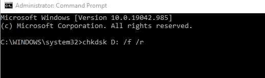 Disk check from command prompt