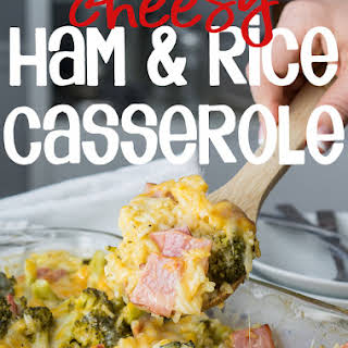 Cheesy Leftover Ham and Rice Casserole with Broccoli.