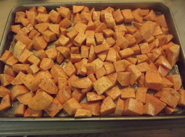 Toss pumpkin in 1/4 cup olive oil with salt and pepper and place on...