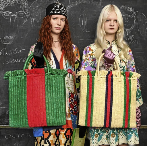 Gucci's all-natural material shoppers.