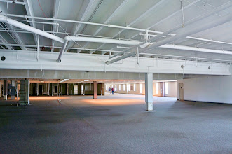 Photo: Second floor, southeast corner, with the false ceiling removed.