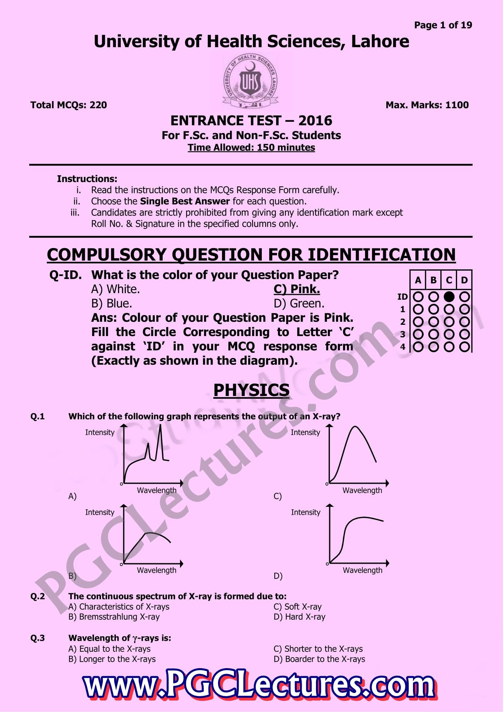 MCAT Past Paper 2016 UHS by PGC Lectures PGC Lectures -