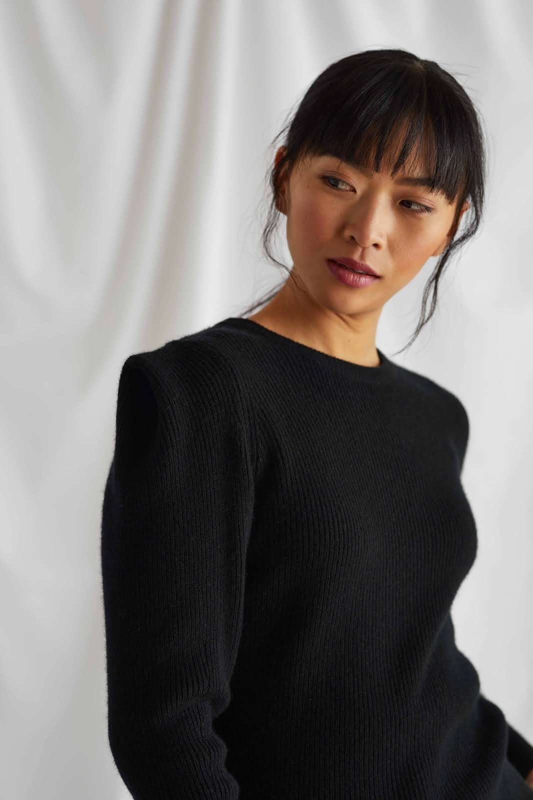 Shoulder Detail Rib Sweater