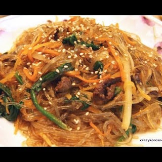 Jap Chae, Stir-fried Glass Noodles (with Vegetarian Option)