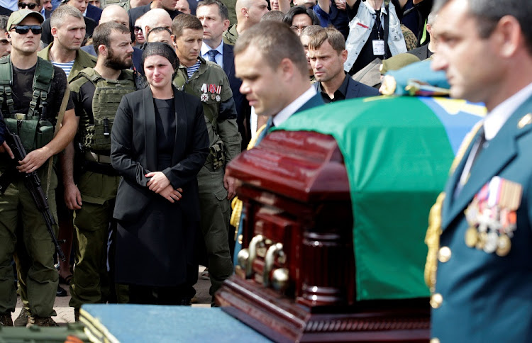 Natalia Zakharchenko, the widow of prime minister of the self-proclaimed Donetsk People's Republic Alexander Zakharchenko, mourns during the funeral in Donetsk, Ukraine, September 2 2018. Picture: REUTERS