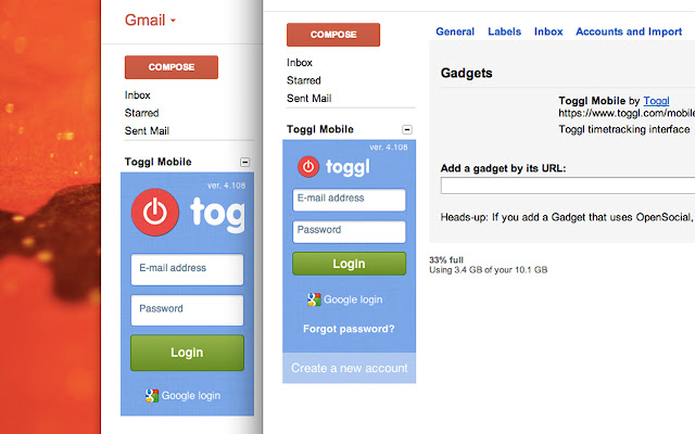 Toggl Timer Skin for Gmail