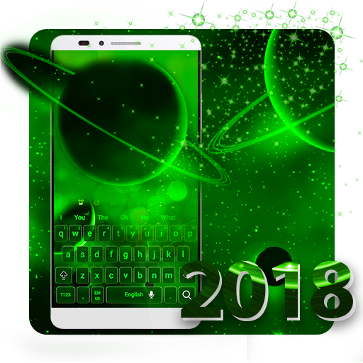 Laser Green Galaxy Keyboard Theme 2018 Android APK Download Free By RIU Design