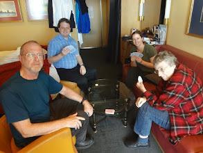 Photo: Playing bridge on the ship