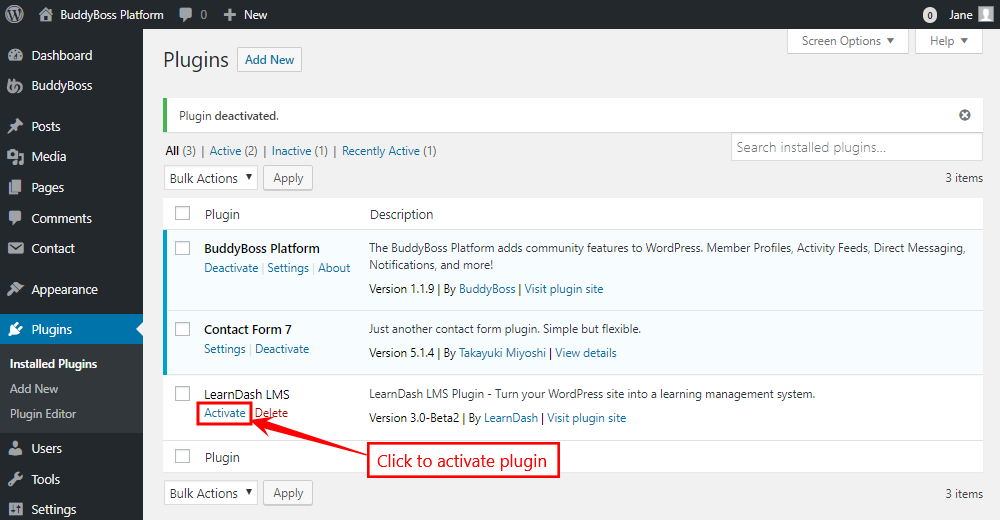 LearnDash LMS - Activating the plugin