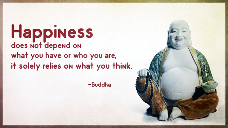 Happiness does not depend on what you have or who you are, it solely relies on what you think.