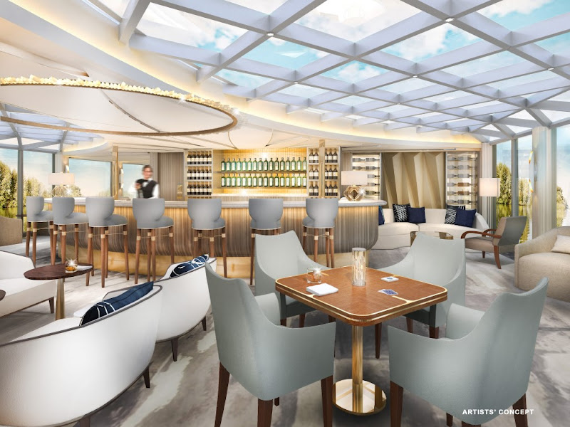 Crystal intends to raise the river cruise experience with luxurious and creative public spaces like the Palm Court (digital rendering).