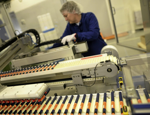 A Novo Nordisk employee works on an insulin production line in a plant in Kalundborg, Denmark. Picture: REUTERS