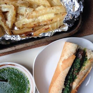Chimichurri Steak Sandwich with Garlic Wedges Recipe