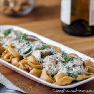Tortellini with Greek Yogurt and Mushroom Sauce.