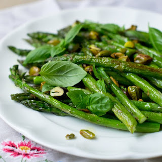 Roasted Asparagus with Pistachios and Basil