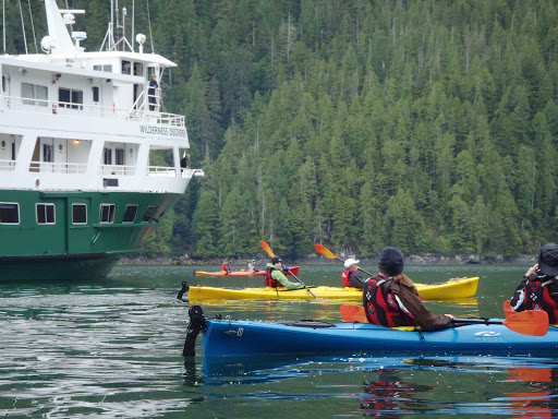Wilderness-Discoverer-kayakers.jpg - Kayakers depart from the Wilderness Discoverer for their daily excursion.