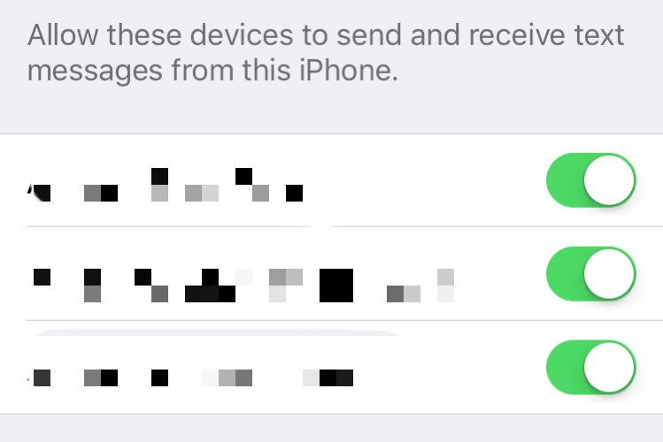 iOS Messages toggle setting.