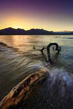 Photo: Splash!  Lake Manapouri, West Coast near to Te Anau, South Island, New Zealand  Tech Info: Canon EOS 5D, EF 17-40L @ 17mm, f/16, 1/2 sec., ISO100, Lee Neutral Density Graduated Filters, Heliopan polarizer, tripod, manual focus