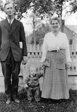 Photo: Picture of Nephi Leon (Lynn) Jackson and hiswife Emily Lee and their first child, Harold Lee.  Nephi Leon was born on 5/21/1888 in Nephi, Utah to Nephi Jackson and Mary Anne Ockey. He died on 10/9/1961.  Leon and Emily were married on December 20, 1916. They had three: Harold Lee, Marjorie Irene and William. Emily Lee was born 16 Aug 1885 in Idle, Yorkshire, England, and died on08 May 1969.