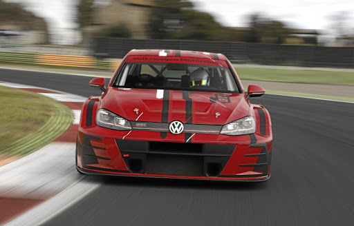 Hurtling around the Vallelunga circuit in the 2018 Volkswagen Golf GTi TCR.    Picture: VOLKSWAGEN MOTORSPORT