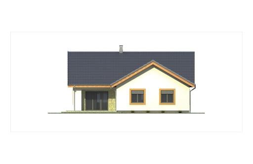 Ambrozja 2 wersja B z poddaszem do adaptacji z pojedynczym garażem - Elewacja tylna