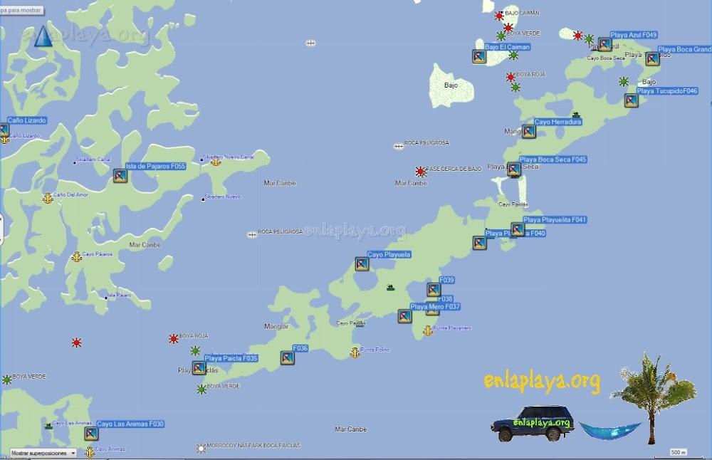 Mapa de Playas sector Playuela