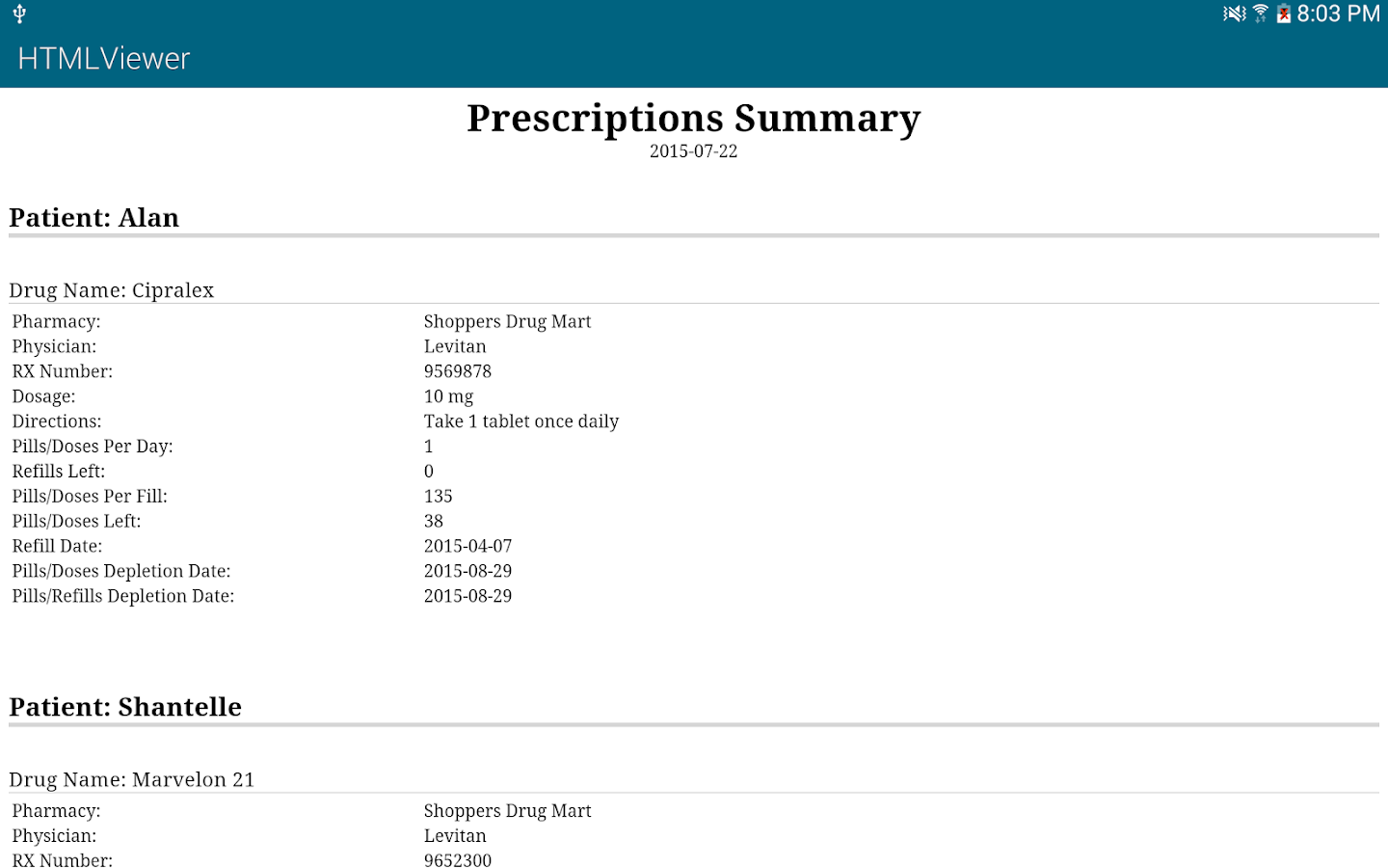 Prescription Monitor Free- screenshot