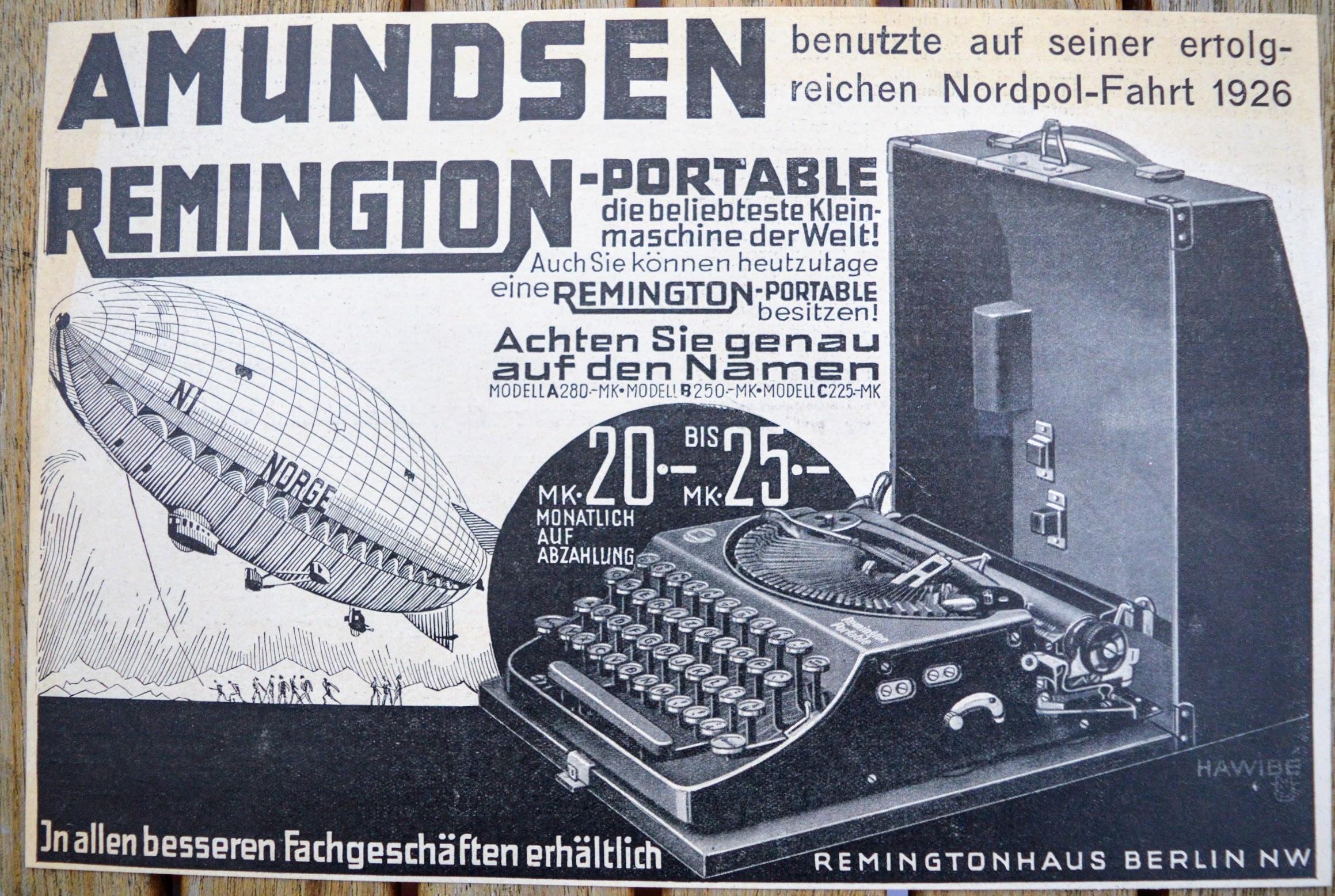 Remington Portable - Werbung - Amundsen Nordpol-Fahrt 1926