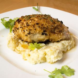 Roasted Pepper Stuffed Chicken Over Spicy Potato Mash