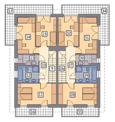 Światła miasta - wariant III (dwulokalowy) - M225c - Rzut piętra