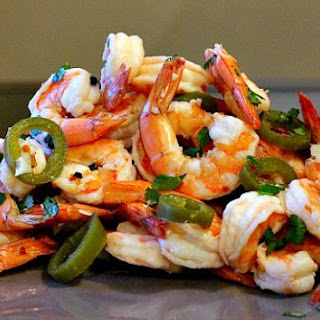Pickled Shrimp with Spinach Cream Dip.