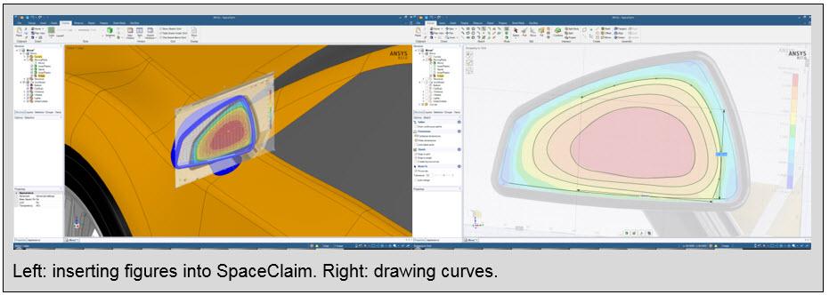 ANSYS вставка рисунка в SpaceClaim. Справа: рисование кривых