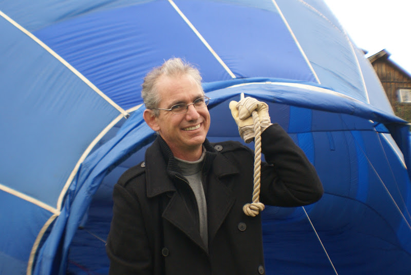 Photo: holding the balloon open for fan to inflate