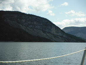 Photo: Entering Goose Arm with the dramatic hills and cliffs.
