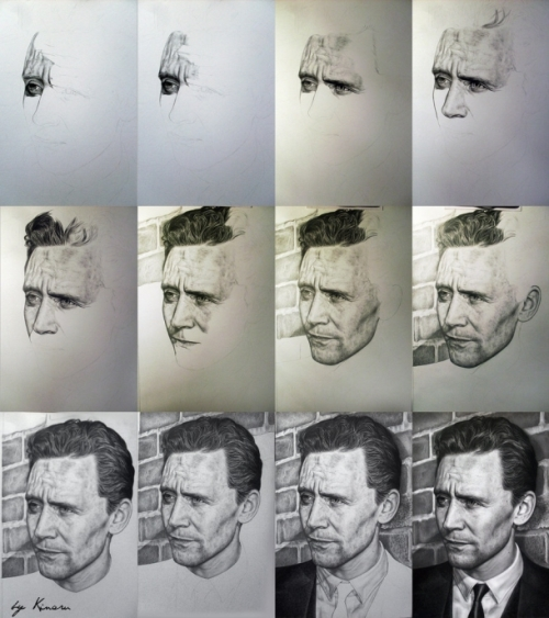 Tom Hiddleston (cute Loki). Pencil drawings by Natasha Kinaru