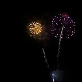 Aerial Fireworks #7 by Tony Huffaker - Public Holidays July 4th ( utah, celebration, city, sandy, fireworks, holiday )