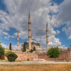 Selimiye,Edirne by Mehmed Mestanov - City,  Street & Park  Vistas ( clouds, selimiye, sky, mosque, turkey, landscape, edirne )