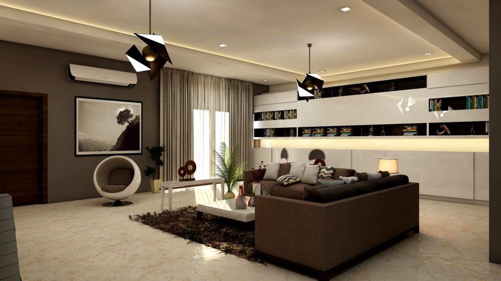 A spacious living room.