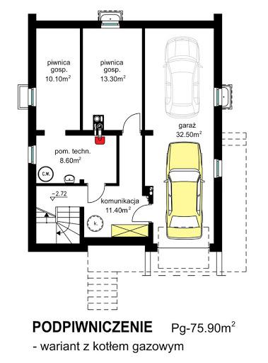 BW-32 wariant 4 - Rzut piwnicy - propozycja adaptacji - ogrzewanie gazowe