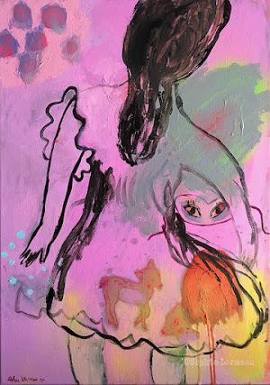 errance-lady-woman-pink-masque-mask-bambi-dos-childhood-dress-paon-past-wandering-child-sophielormeau-lormeau-artiste-peinture-french-artist-art-tableau-toile-painting-peinture-canvas-grey-
