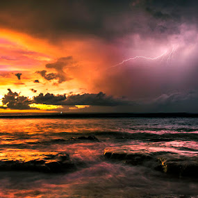 Two Sides by Sonny Saban - News & Events Weather & Storms ( lightning, sunset, sea, travel, nightfall, rote island )