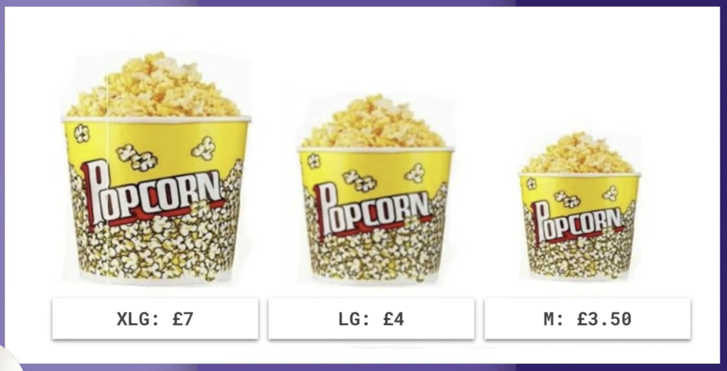Popcorn prices in the cinema are an example of the decoy effect in action.