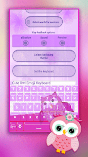 Cute Owl Emoji Keyboard - náhled